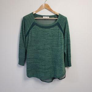 Revolve John + Jenn Green Sheer Knit Top Casual Sweater Career Work Office